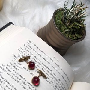 Vintage red and gold cuff links